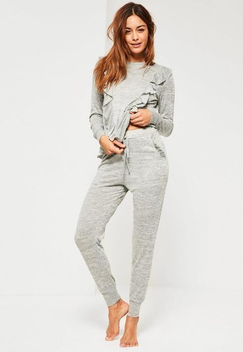 6cbcfc73 Grey Frill Lounge Tracksuit | Products | Sleepwear women, Nightwear ...