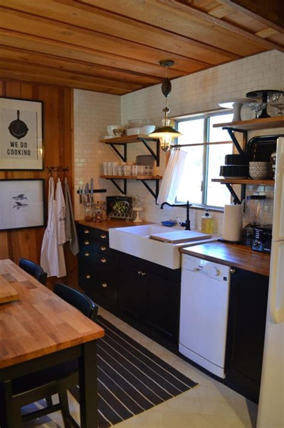 47 Inspiring Small Rustic Kitchen Design Ideas 2019   Log ...