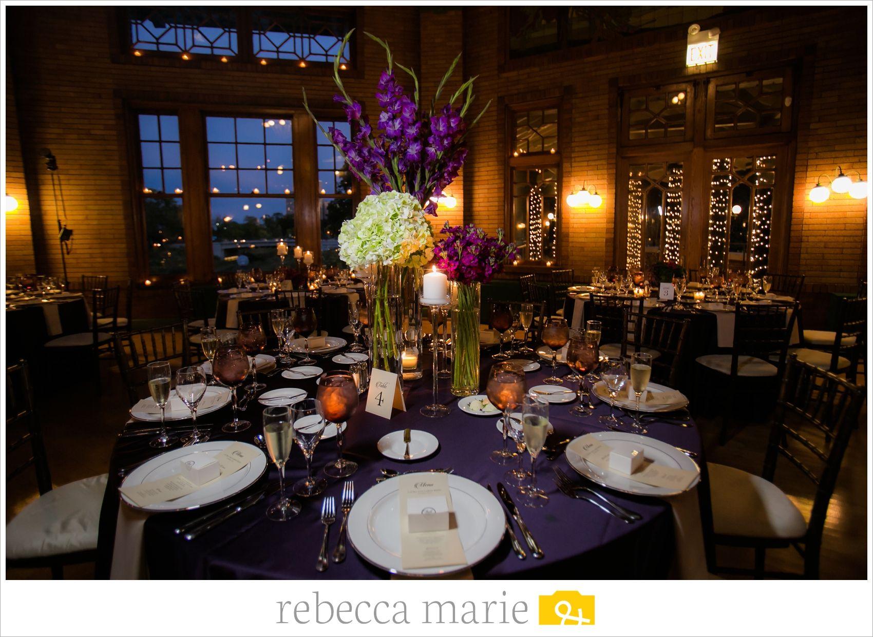 This elegant Cafe Brauer Chicago wedding featured purple