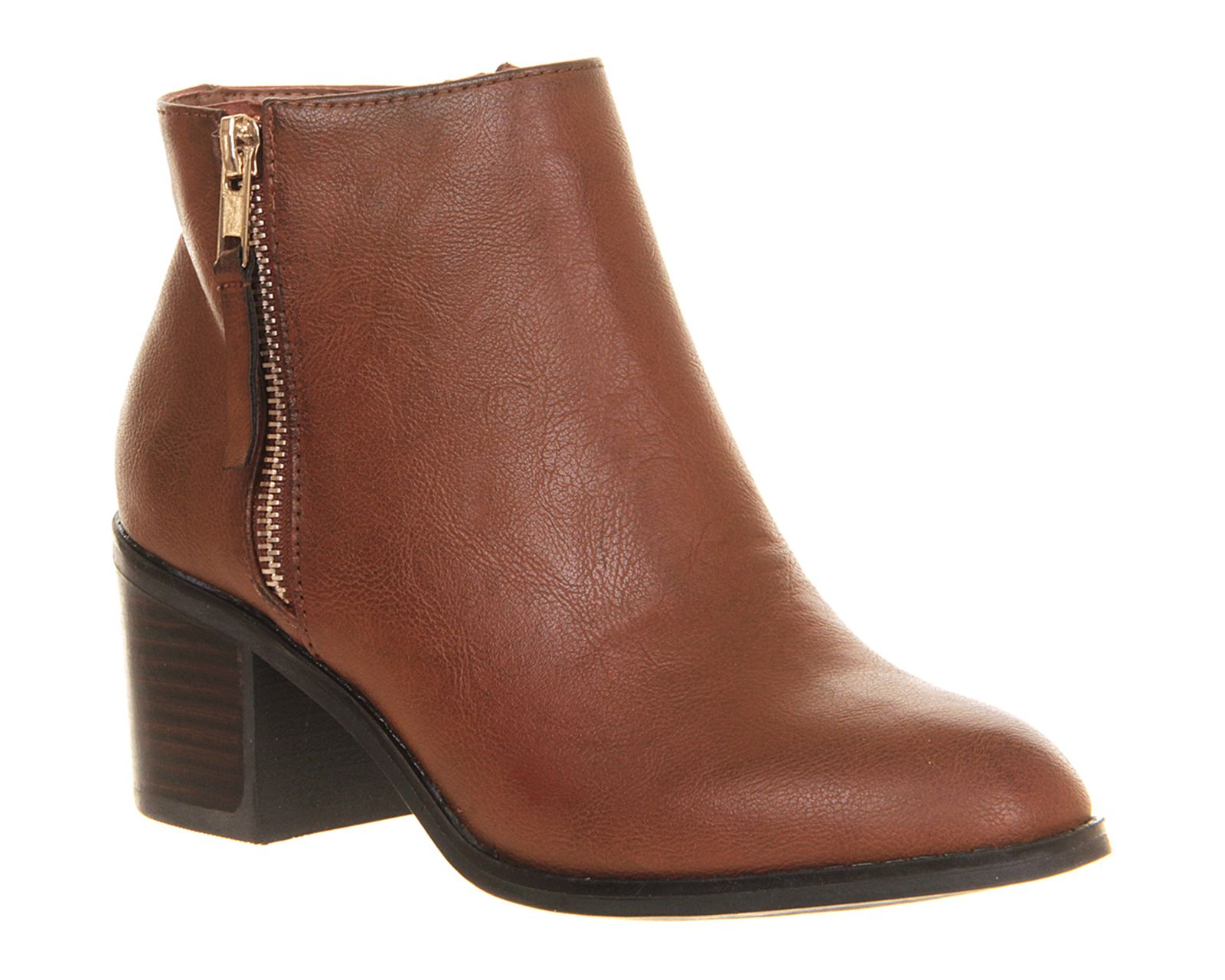 Office Cooper Side Zip Boot Tan Ankle Boots