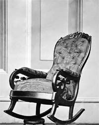 The CHAIR Abraham Lincoln was sitting when assassinated at Ford's Theater -- Photo made in April, 1865 shortly after the murder __________________________ Reposted by Dr. Veronica Lee, DNP (Depew/Buffalo, NY, US)