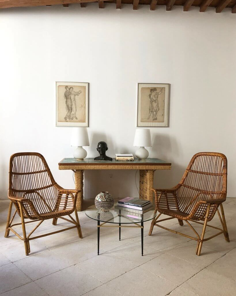 Atelier vime has an ever changing inventory of vintage french rattan designs in good condition and with original patina prices are all on request