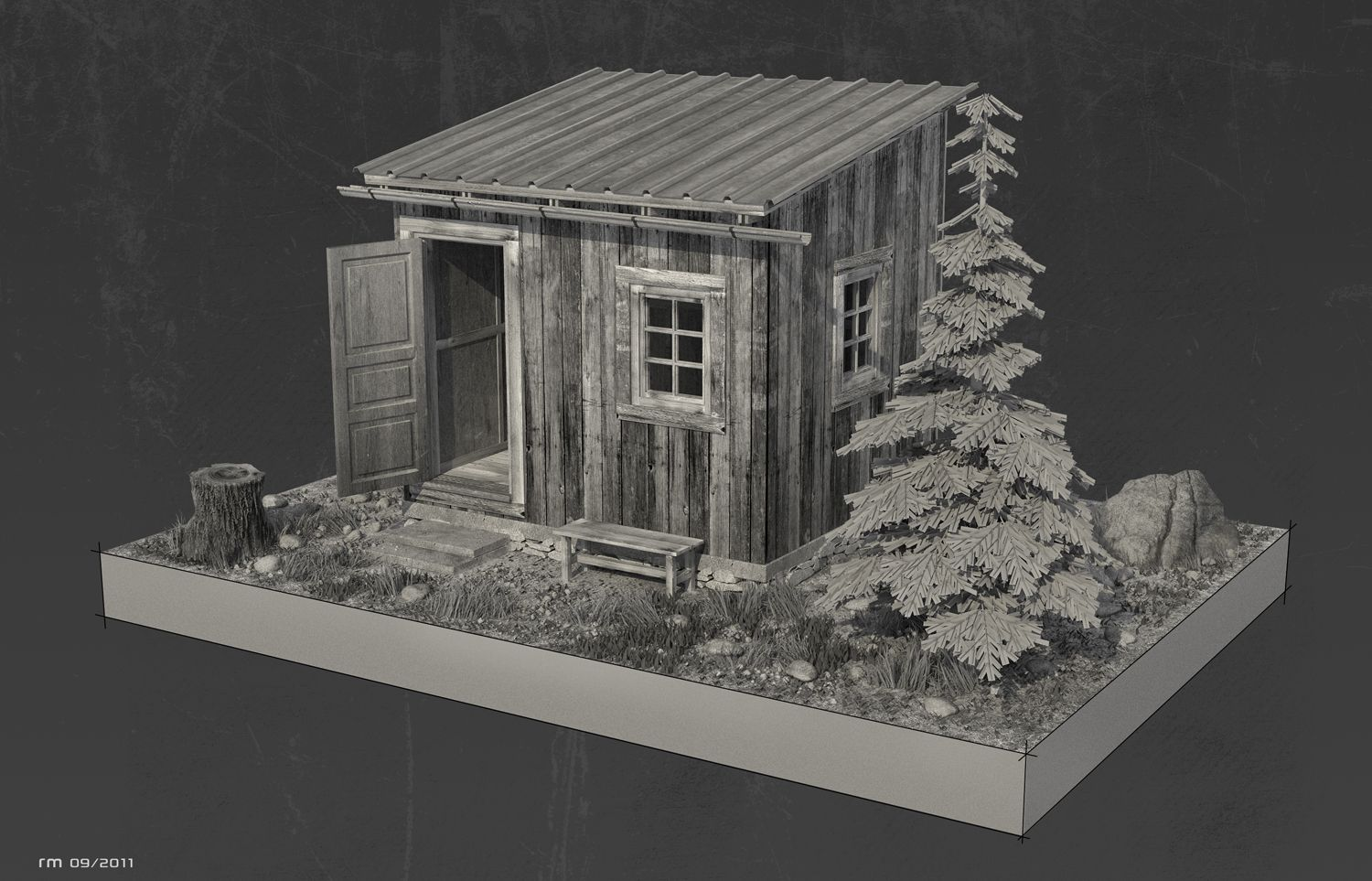 Personal work based on the Hermit Cabin by architect Mats Theselius Rendered in VRAY for RHINO