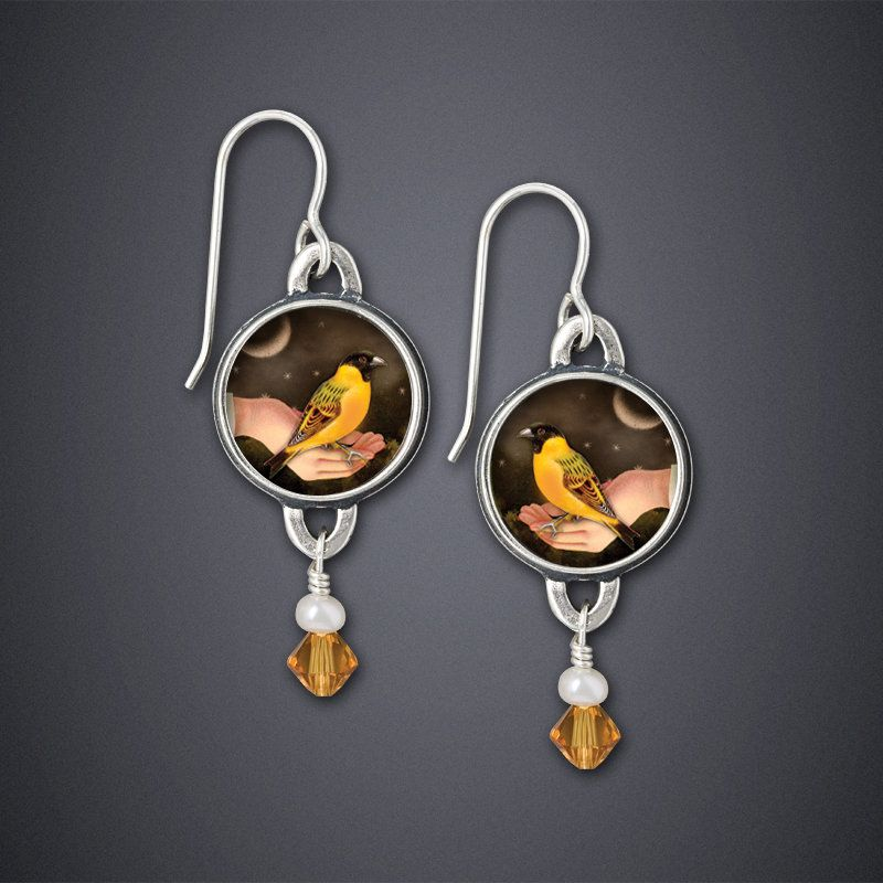 Bird In Hand Earrings by Dawn Estrin (Silver & Citrine Earrings) | Artful Home