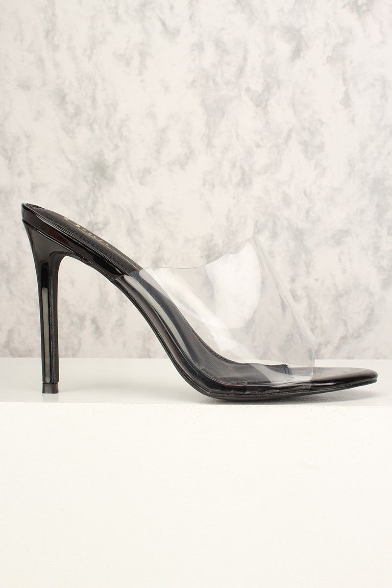 264fdc61f88 Sexy Black Open Toe Slip On Single Sole High Heels