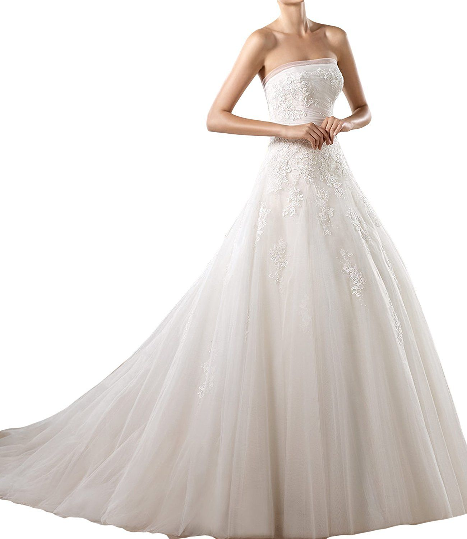 Gorgeous Bride Elegant Bandeau Prinzessin Tuell Spitze Hof-Schleppe ...
