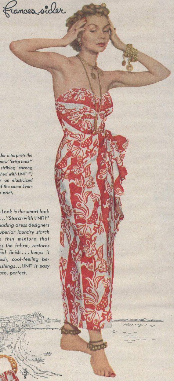 femme des années 1940 en Sarong rouge & blanc par FantodManorBooks ...