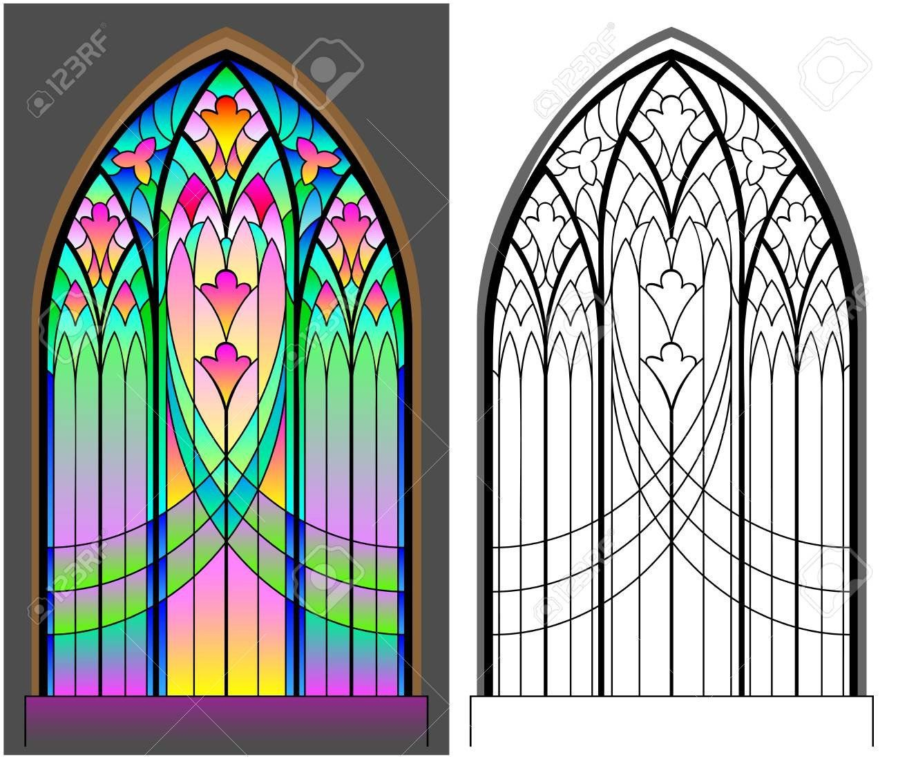 Stained Glass Windows Worksheet Colorful And Black And White Pattern Of Gothic Stained Glass Stained Glass Windows Stained Glass Gothic Cathedral