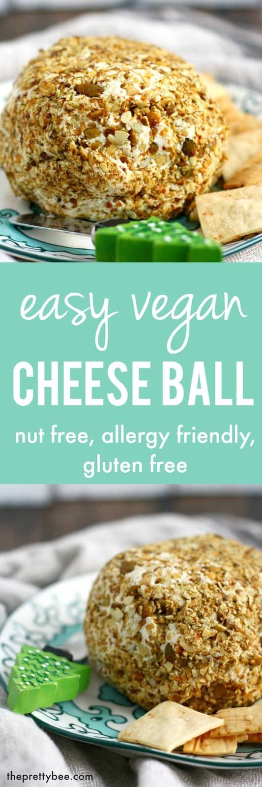 A Creamy Flavorful Vegan Cheese Ball Is The Perfect Party Appetizer Nutfree Dairyfree Glutenfree Vegan Vegan Cheese Cheese Ball Easy Vegan