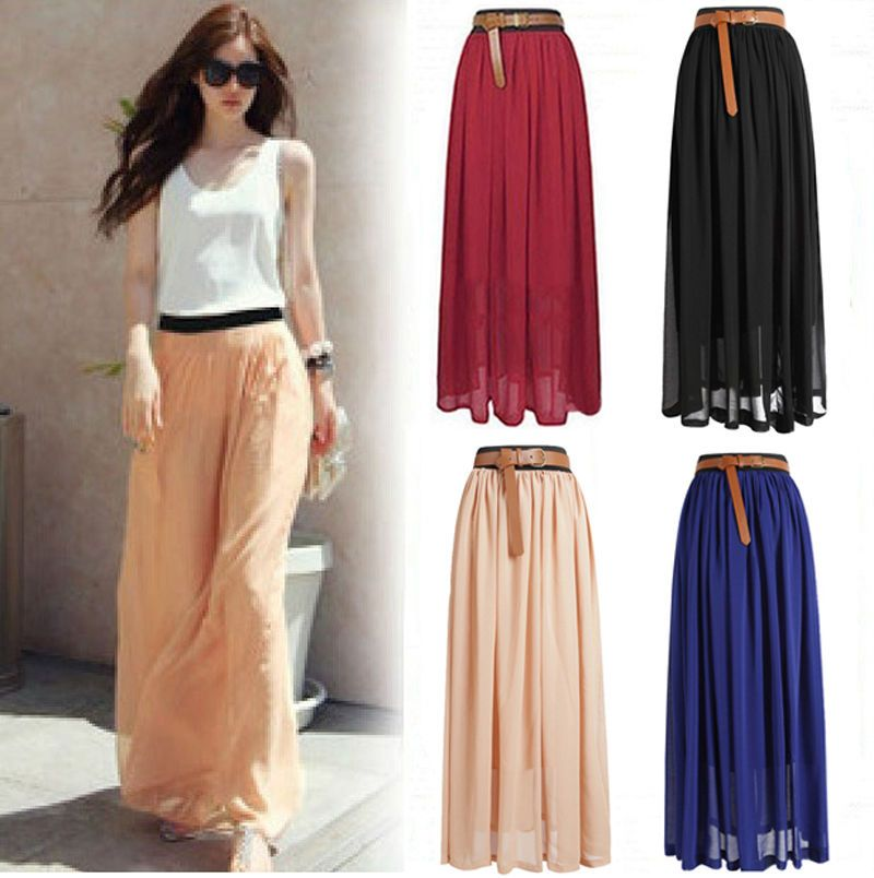 Details about NEW Women Double Layer Chiffon Pleated Retro Long ...