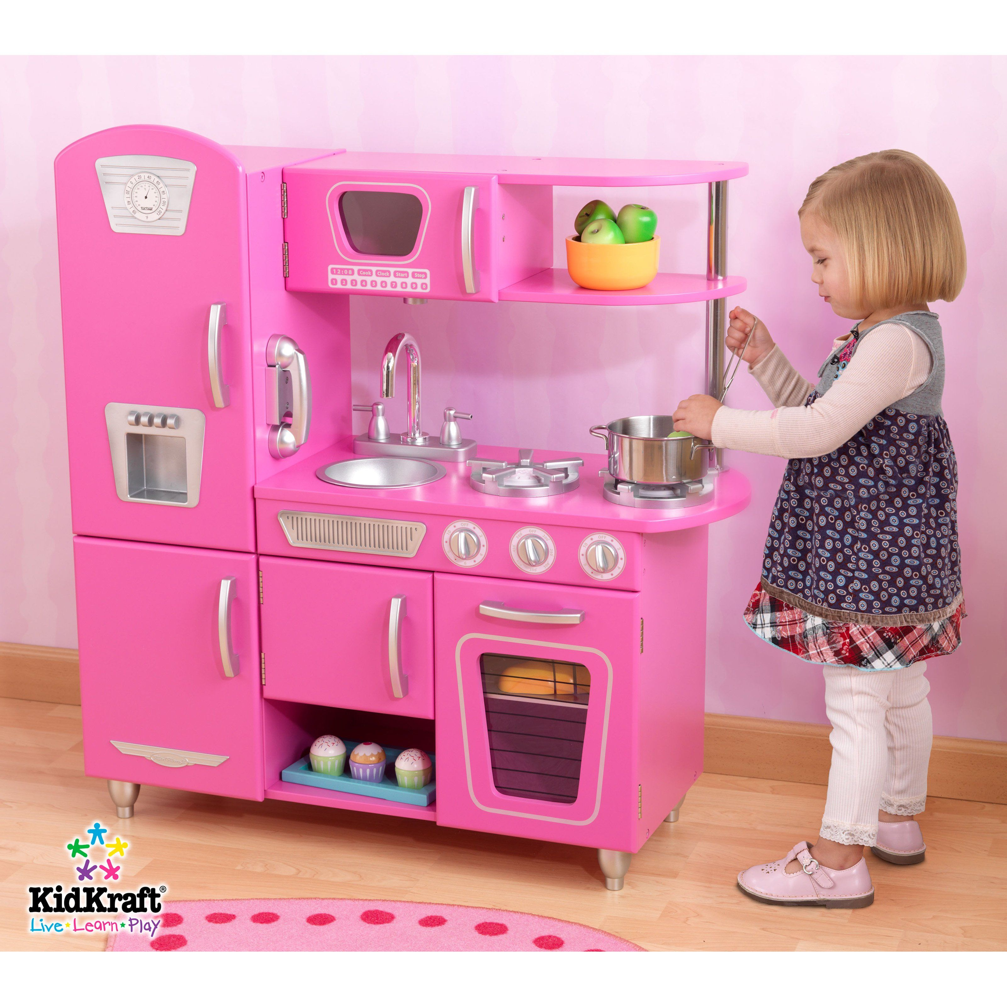 Kidkraft large pastel kitchen  Have to have it KidKraft Bubblegum Vintage Kitchen  this is