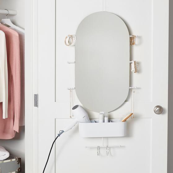 Over The Door Oval Mirror Organizer In 2020 Mirror Organiser Oval Mirror Dorm Closet Organization