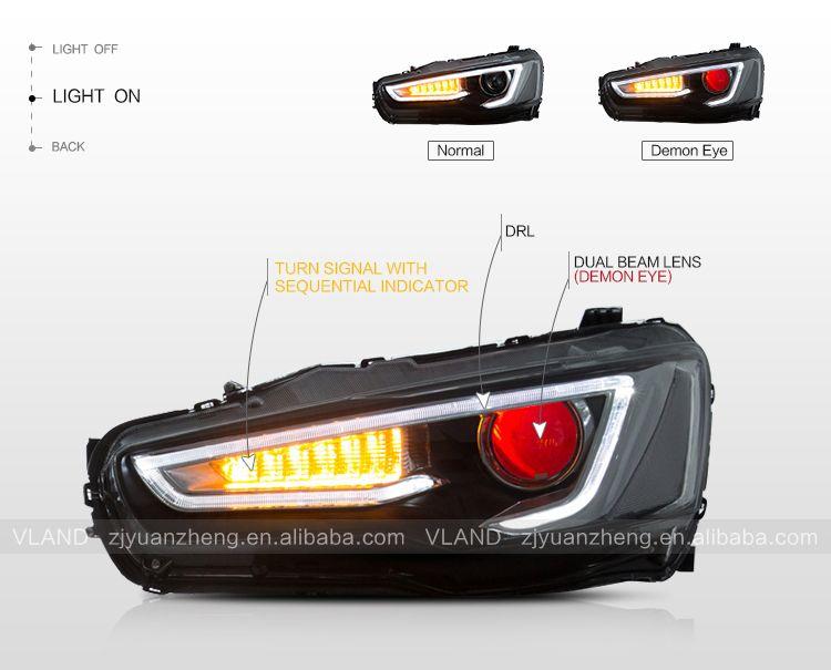 Led Head Lamps For 2008 Up Mitsu Lancer Evolution X Ex Lance Car
