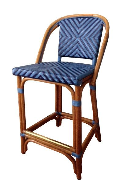 Wa Hoo Designs French Bistro Bar Stool Hk 814 Weave X Primary Color Matte True Blue Secondary Color Mat Bistro Chairs French Bistro