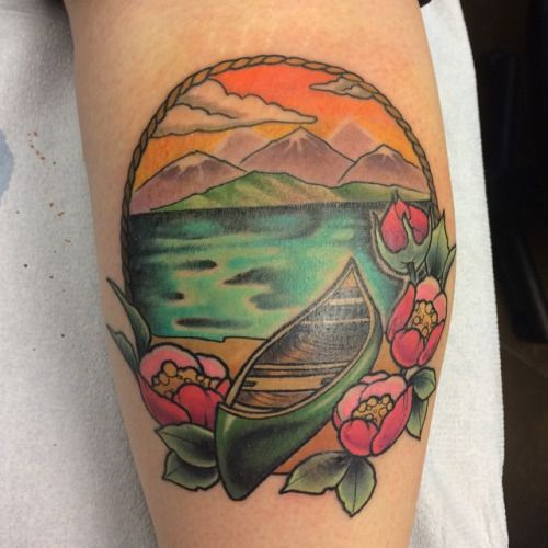 Partially fresh partially healed #canoe and #nature from the other week #colortattoo #legtattoo (at Integrity Tattoo) #integritytattoo Partially fresh partially healed #canoe and #nature from the other week #colortattoo #legtattoo (at Integrity Tattoo) #integritytattoo