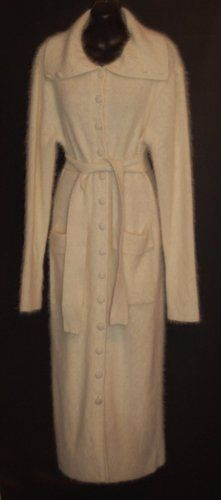 Mohair Cardigan Sweater Coat Full Length Ivory Belted S M ...