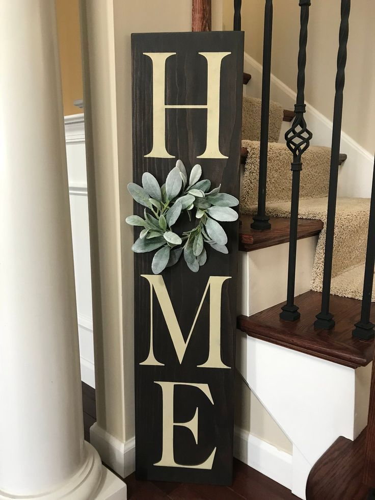 Home sign with wreath 9x40 wood sign vertical | Etsy