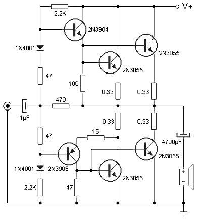 This transistor power amplifier circuit can deliver 90W of