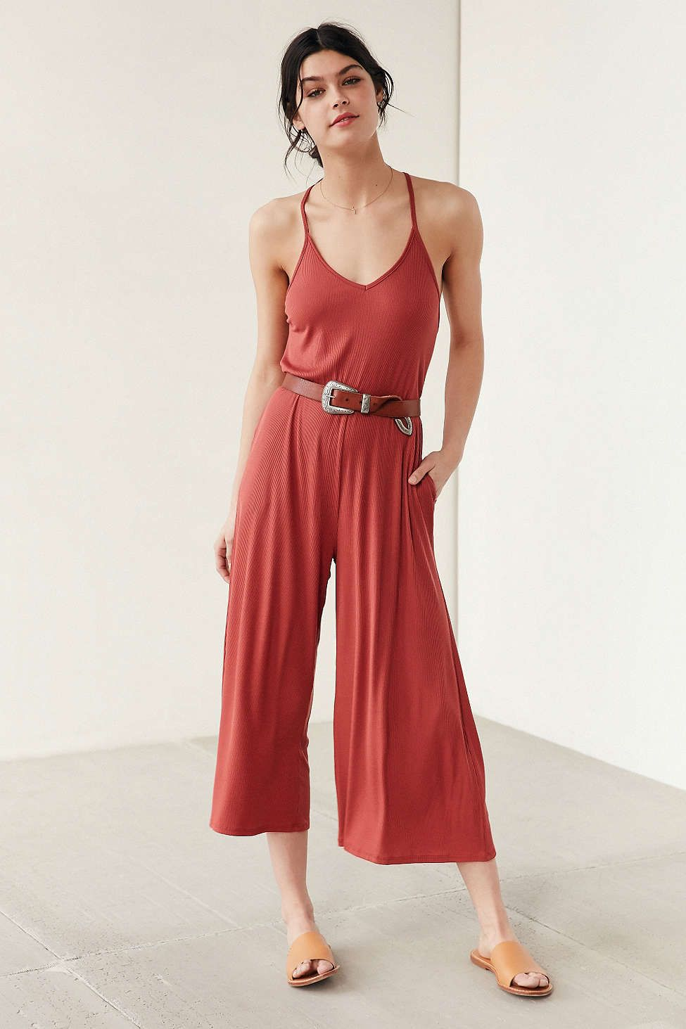 fc60b3752caf5 Silence + Noise Ribbed Knit Culotte Jumpsuit - Urban Outfitters ...