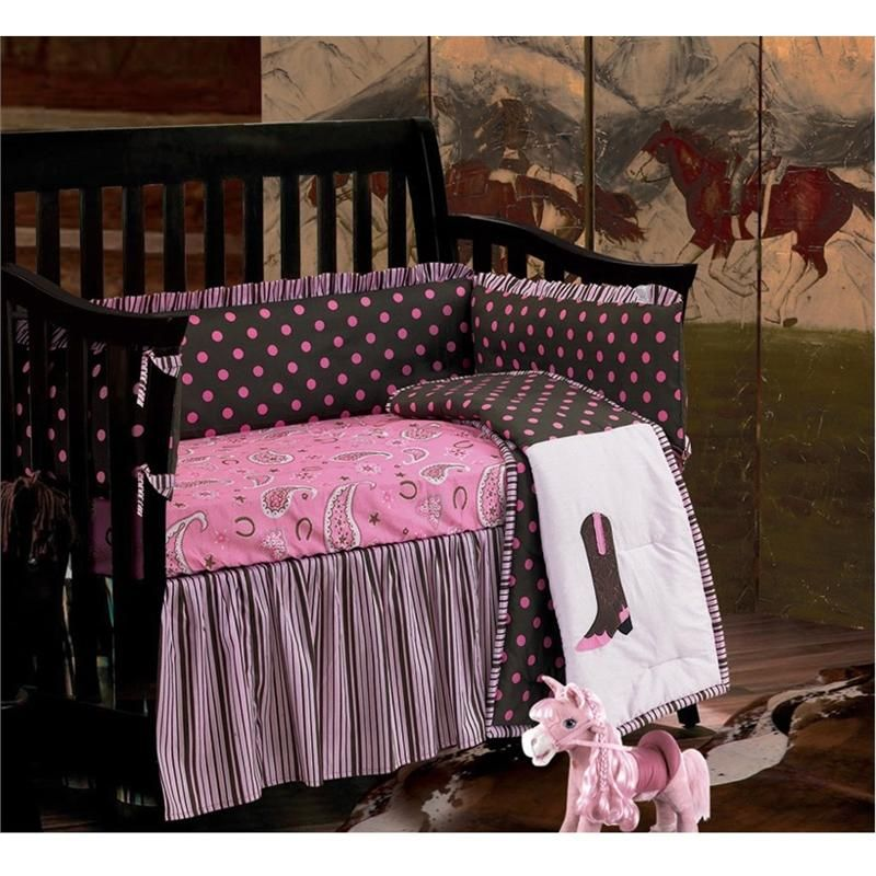 Baby Cowgirl Western Pink Paisley Baby Crib Bedding Set Western