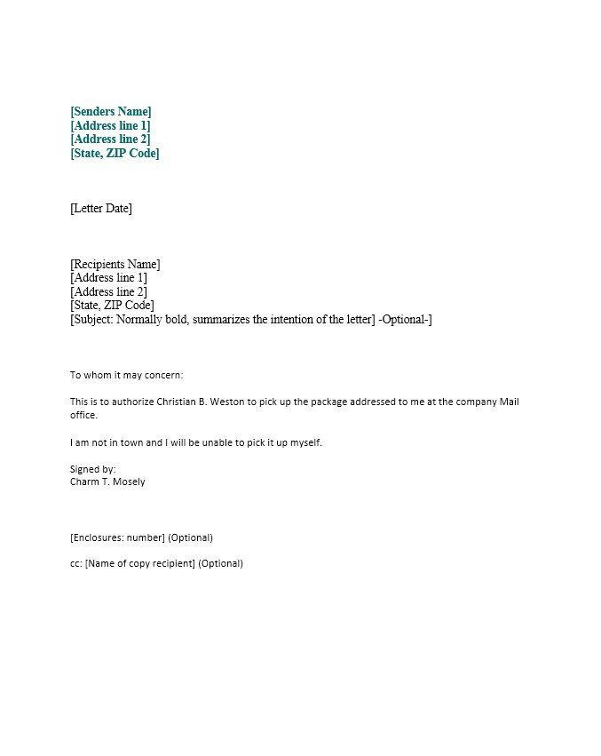Authorization Letter Sample Letter Template Word Lettering