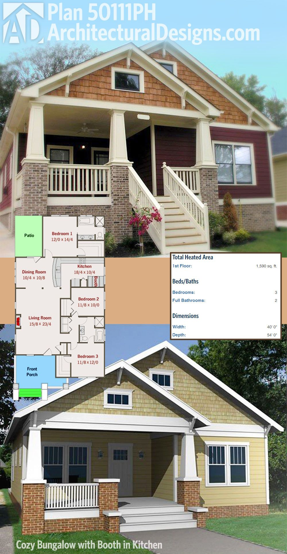 Architectural Designs Bungalow House Plan 50111PH as designed