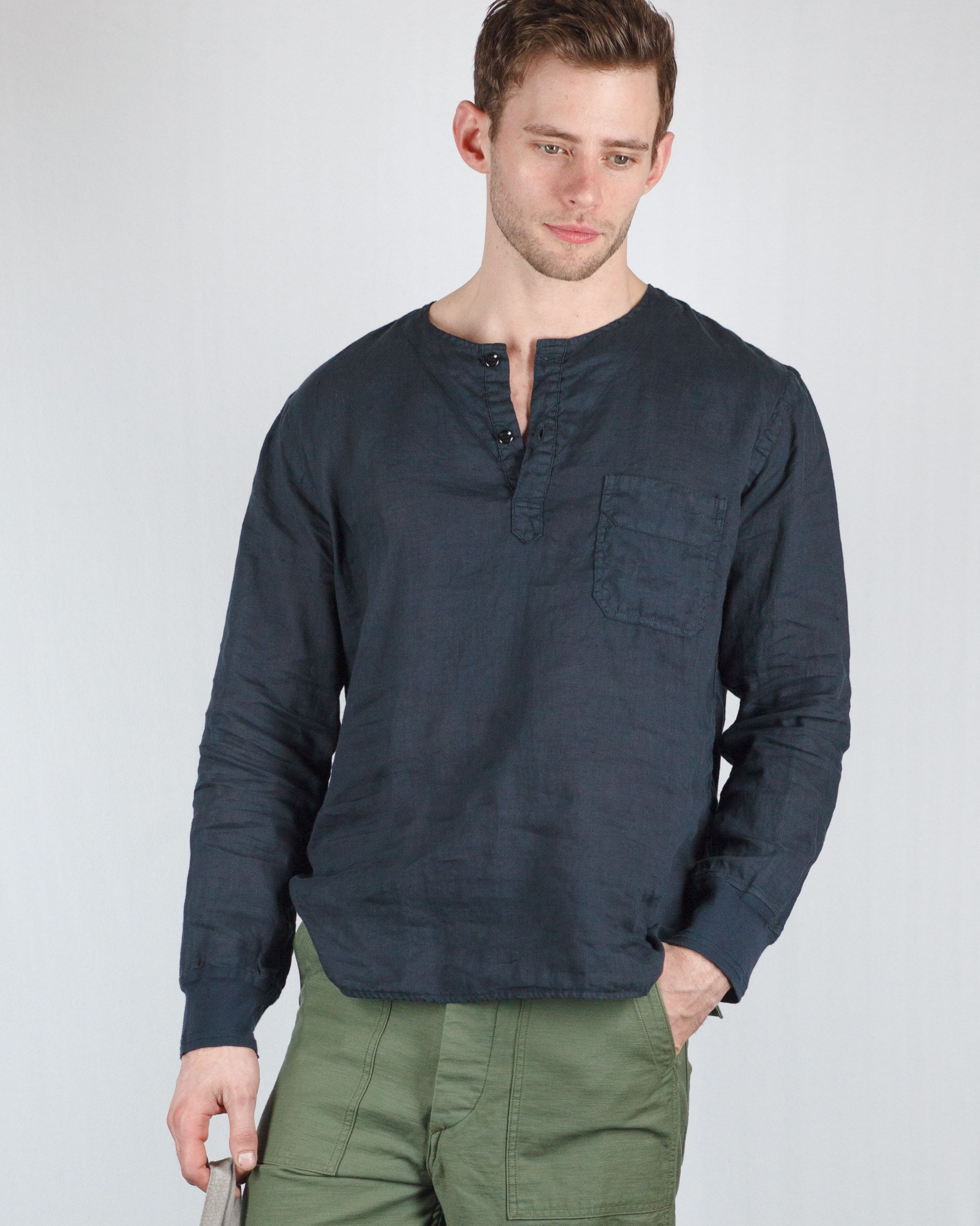 On Sale now: Linen Pullover Collarless shirt by OMNIGOD Fatigues ...
