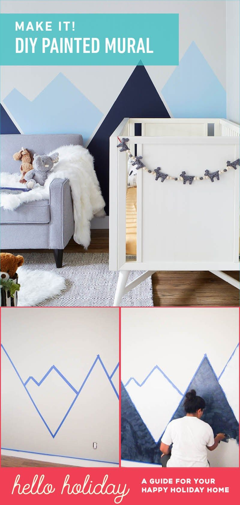 Diy nursery mountain mural nursery blog and room for Diy mountain mural