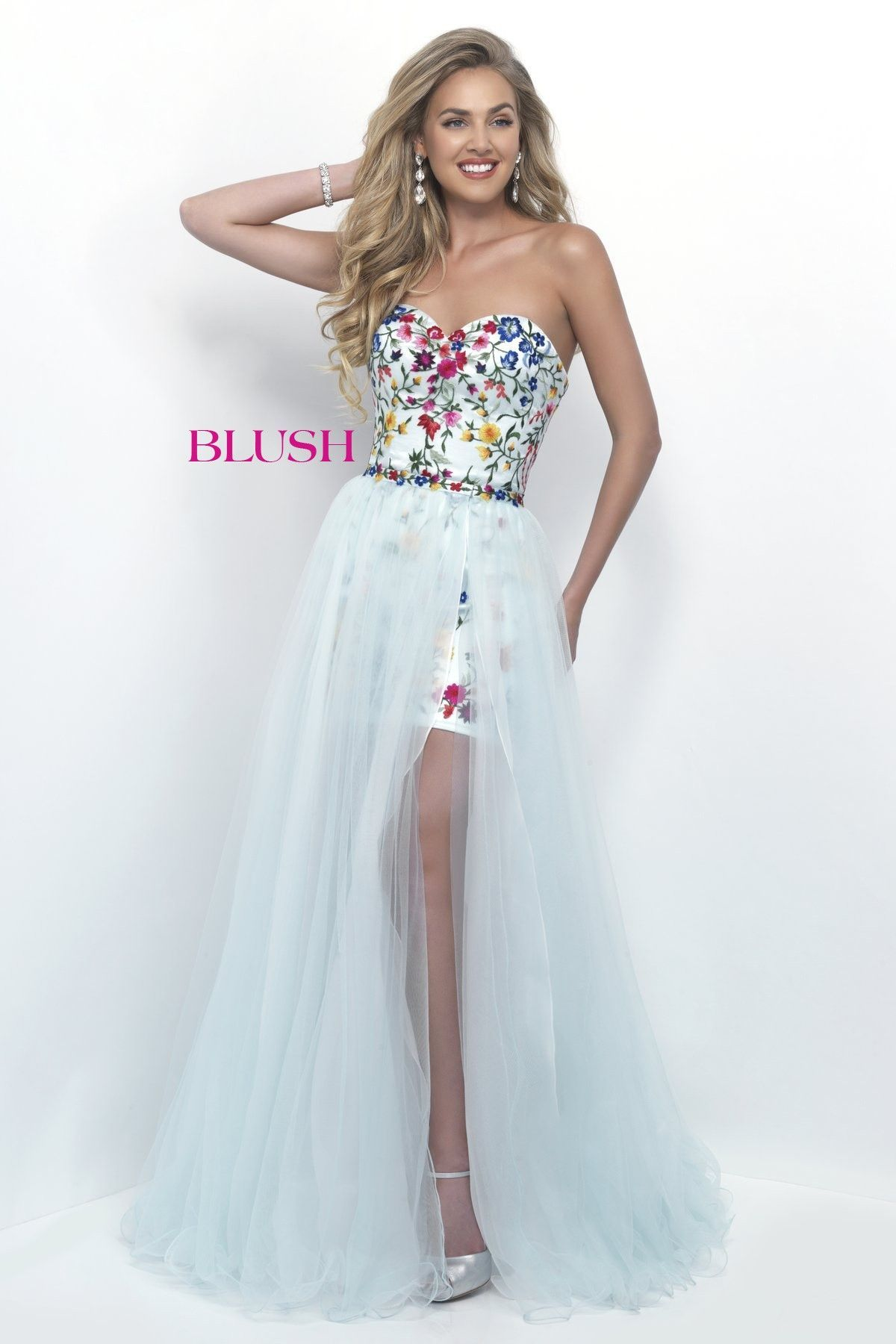 Blush Prom 11282 Mint Floral Sweetheart Prom Dress | Dresses ...