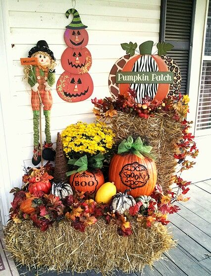 Fall front porch decor Deko Pinterest Front porches and Happy - decorating front porch for halloween