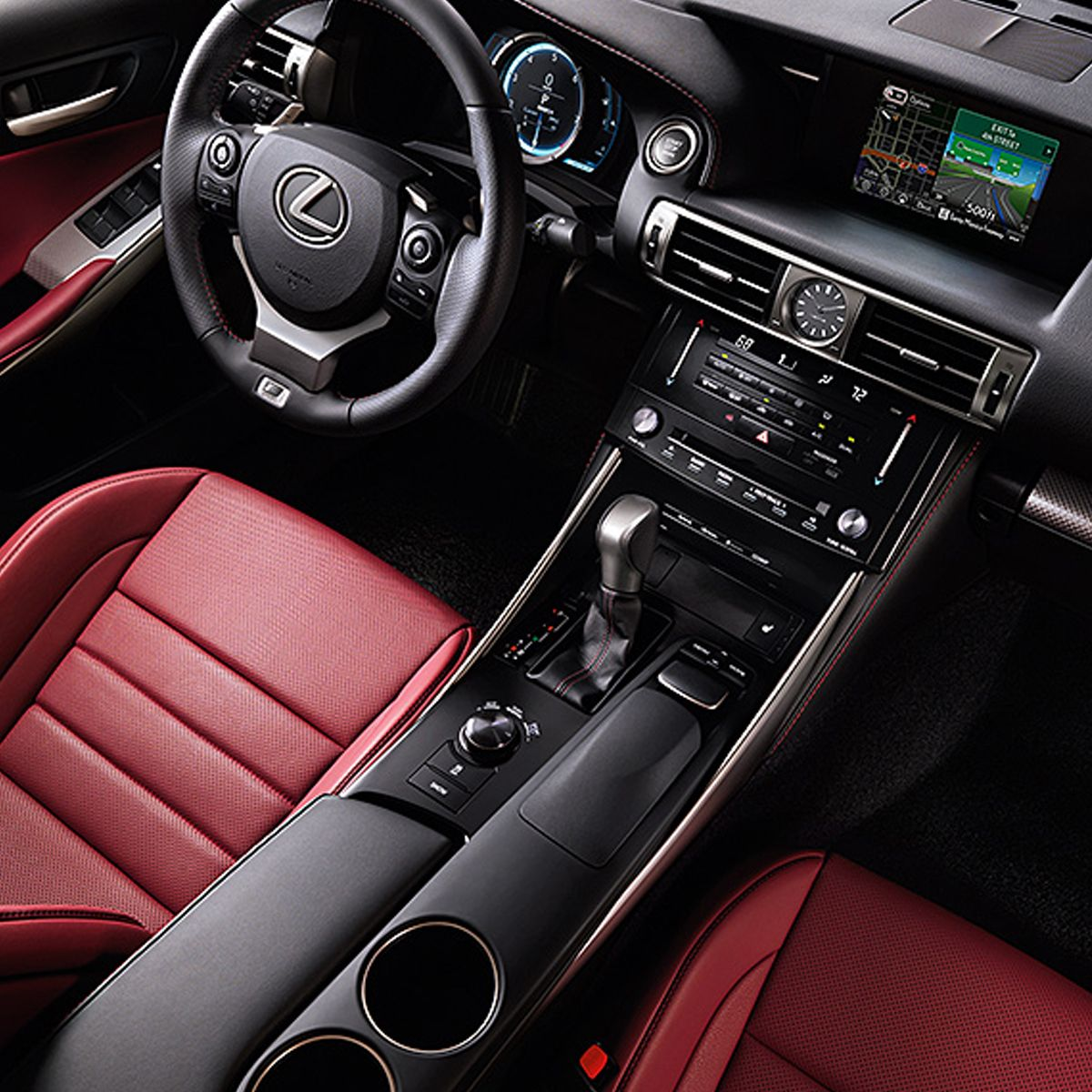 Lexus 2014 IS F Sport Interior In Rioja Red NuLuxe Trim With Available  Navigation System.