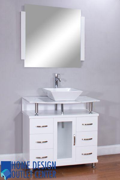 "ALYA-BW-700-36-W-CW 36"" White Single Modern Bathroom Vanity | White Carrera Marble Top"