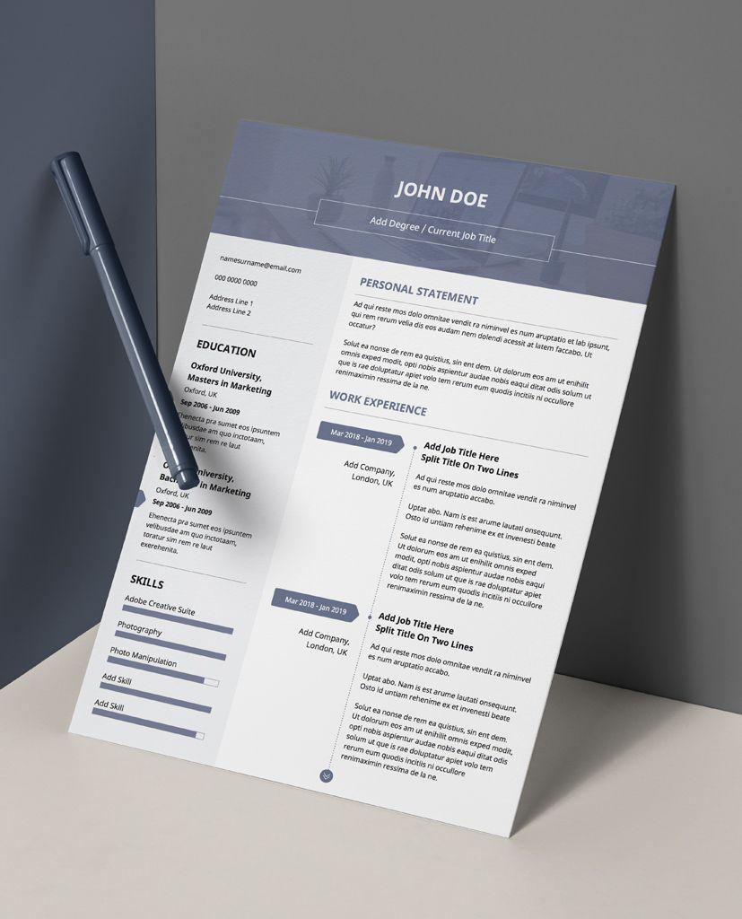 Bold Monochrome 3 Minimalist Double Page CV Resume (con