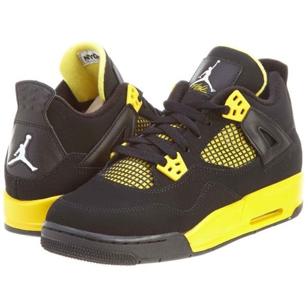 Nike Air Jordan 4 Retro Iv Thunder Gs Size Black Tour Yellow 408452... ($226) ❤ liked on Polyvore featuring shoes, jordans, sneakers and s h o e s