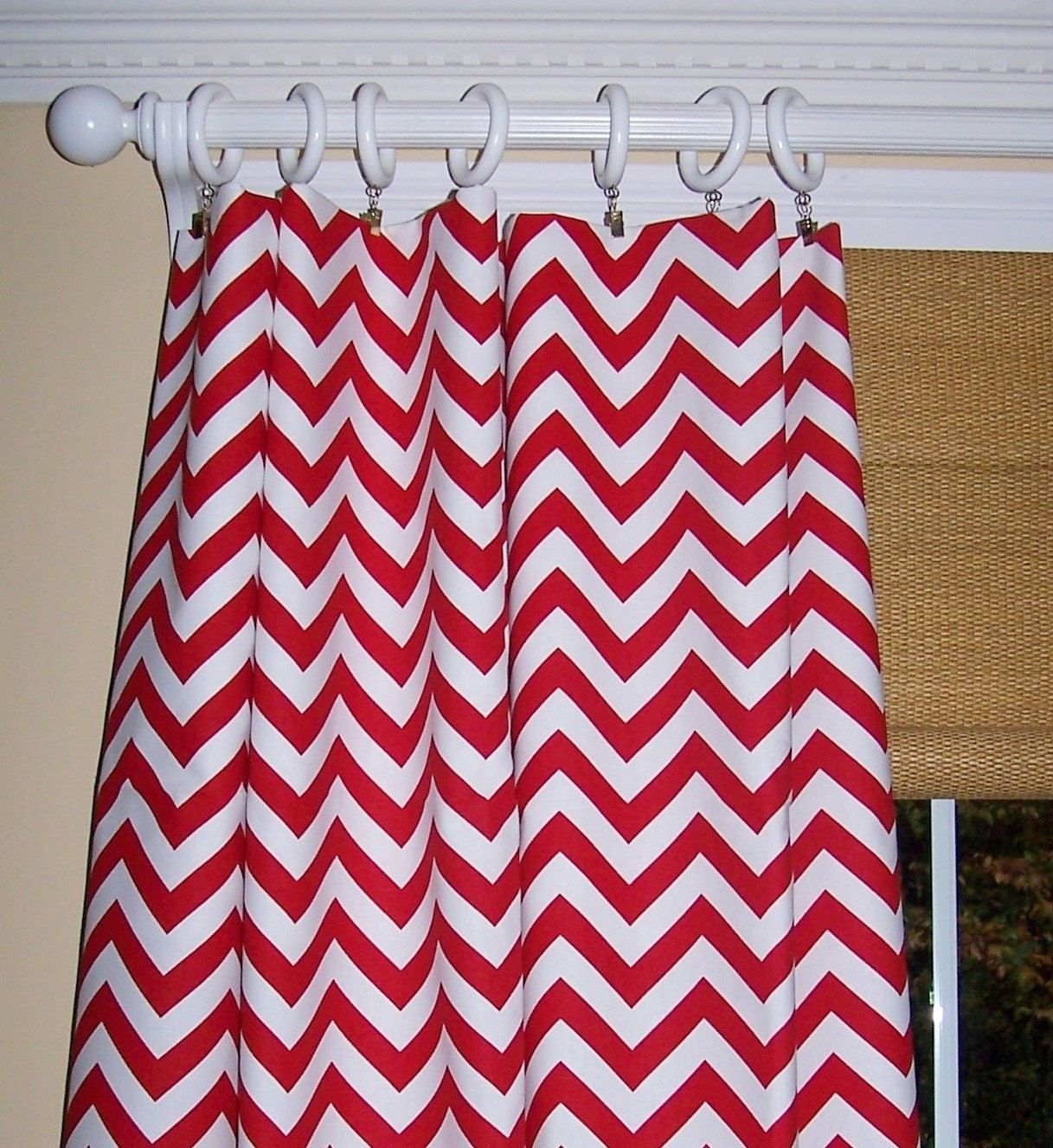 I Just Like This Pattern. Any Bright Color Will Do. RED White CHEVRON  CURTAINS
