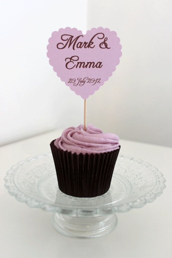 Wedding Cupcake Picks   Large Heart by PaperFete on Etsy, £5.95