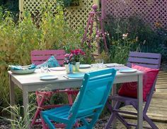 i love these colours i must get round to painting our garden furniture