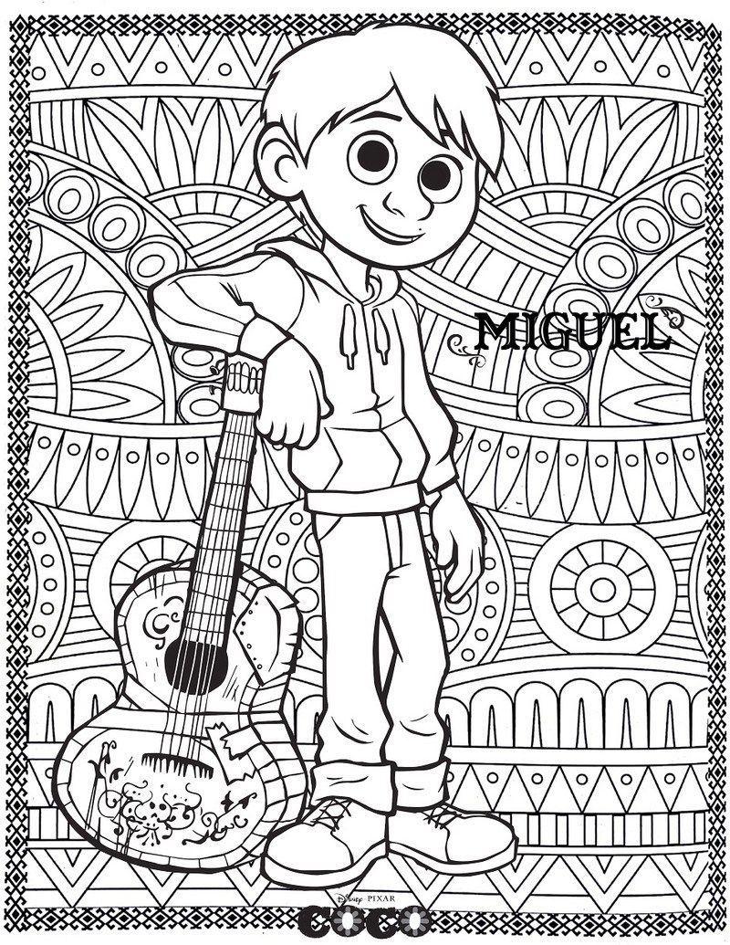 Miguel Coco Coloring Disney Page With Zen Mandala Style Background Picture Disney Coloring Pages Coloring Books Cartoon Coloring Pages
