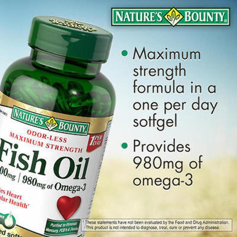 Details About Nature S Bounty Fish Oil 1400 Mg 130 Softgels 980 Mg