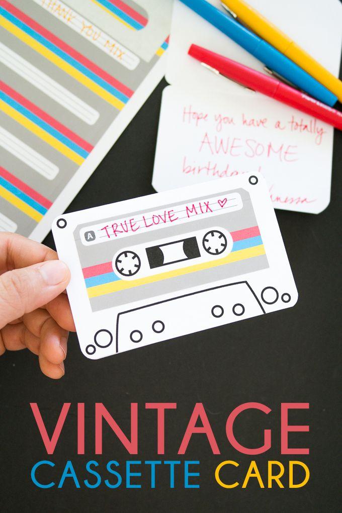 Vintage Cassette Tape Cards Super easy, Cards and Vintage
