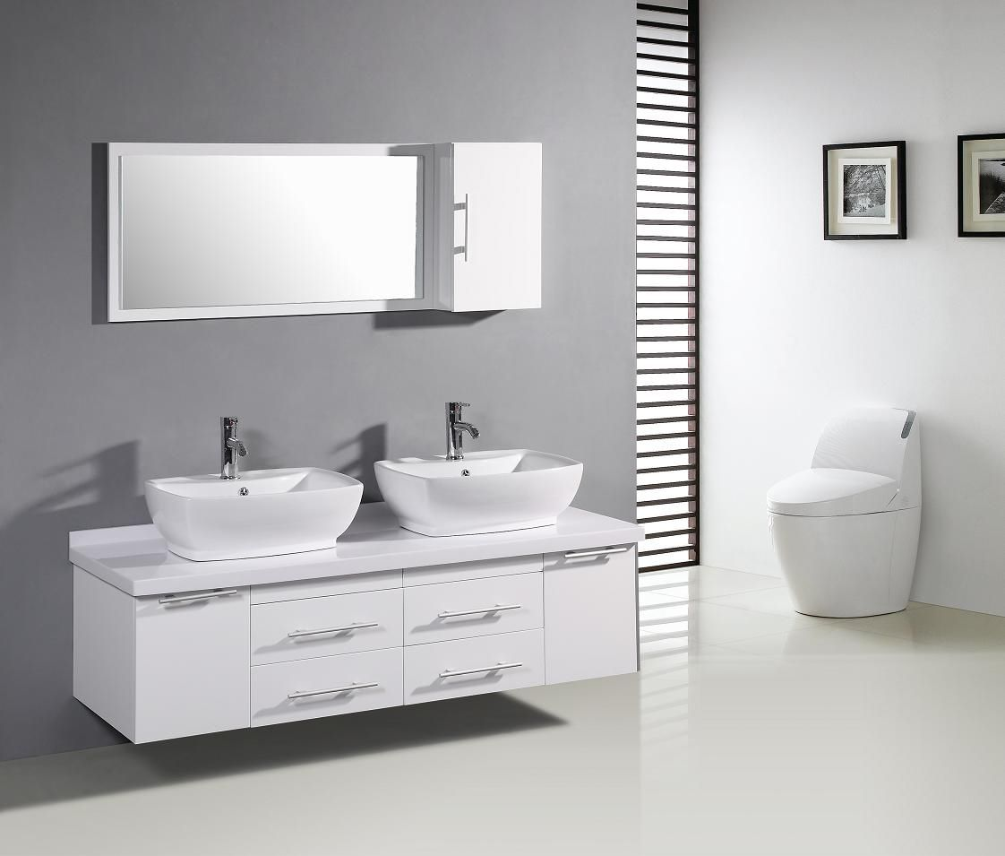 grey wall white vanity white tile bathroom