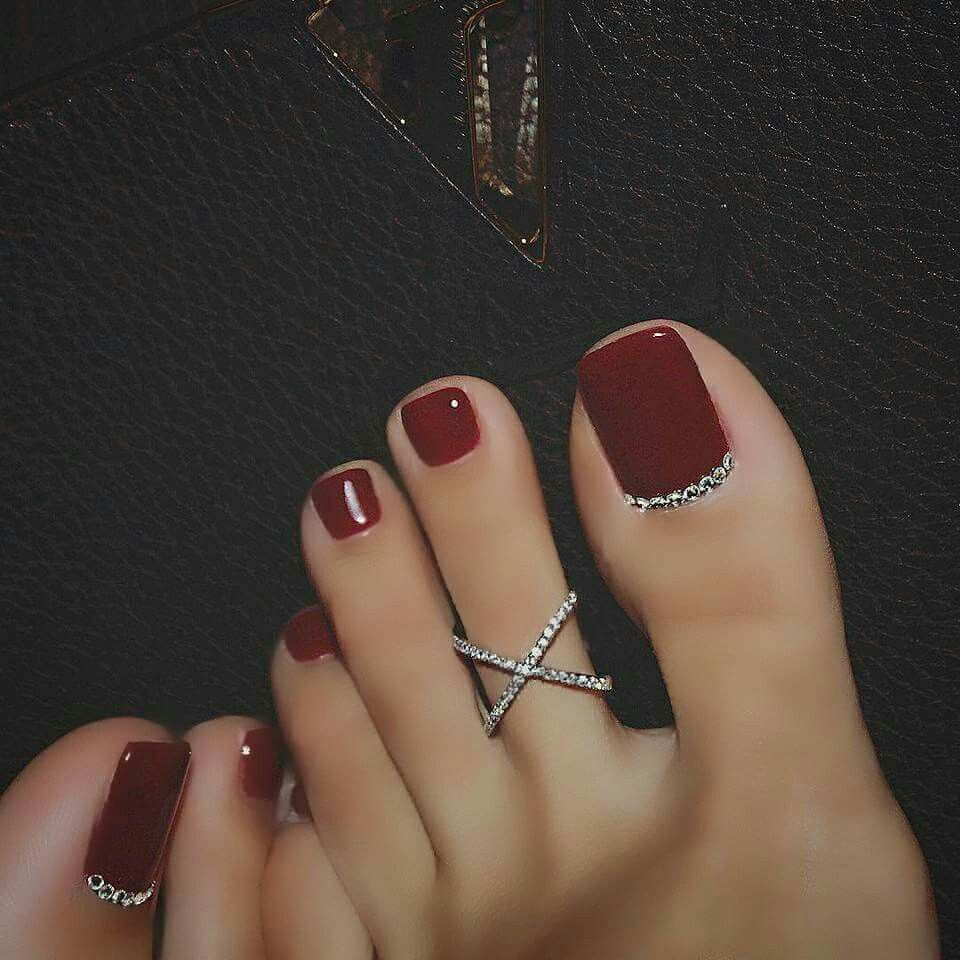 Toe Nails Red, Red Toenails, Dark Red Nails, Red Bottom Nails, Toe