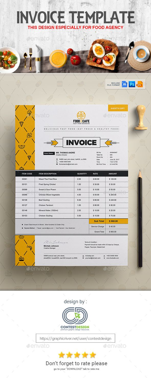 Invoice  Bill  Cash Memo Design Template For Fast Food