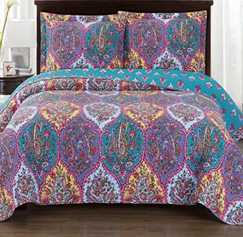 Grandlinen 3 Piece Fine Printed Oversize 115 X 95 Quilt Set Reversible Bedspread Coverlet California Cal King Bed Spreads King Size Bed Covers Bed Covers