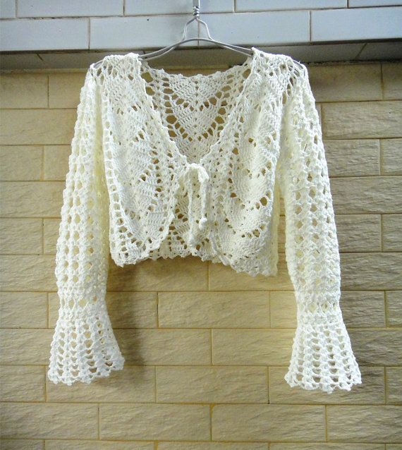 white crochet crop top long sleeve bolero jacket ernte b ste und lange rmel. Black Bedroom Furniture Sets. Home Design Ideas