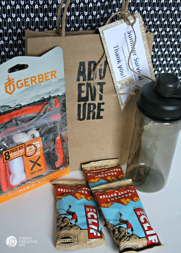 male teacher gift summer survival kit teacher appreciation week see more creative inspiration on todayscreativelifecom