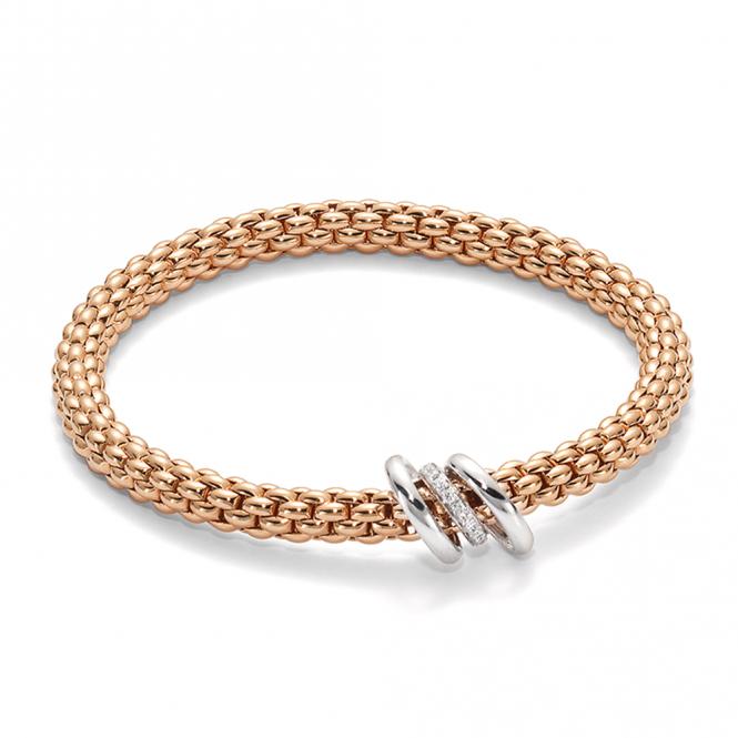 Fope Solo 18ct Rose Gold Bracelet with Plain & Diamond Set