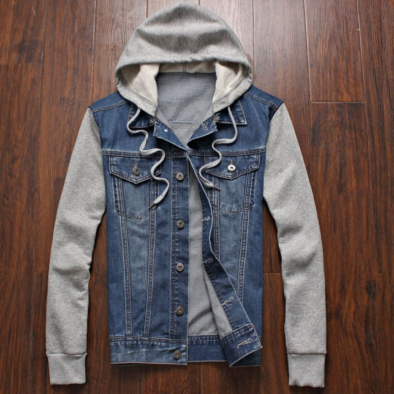 Real Photo New 2015 Men Hoodies Sweatshirts Sports Zipper Denim ...