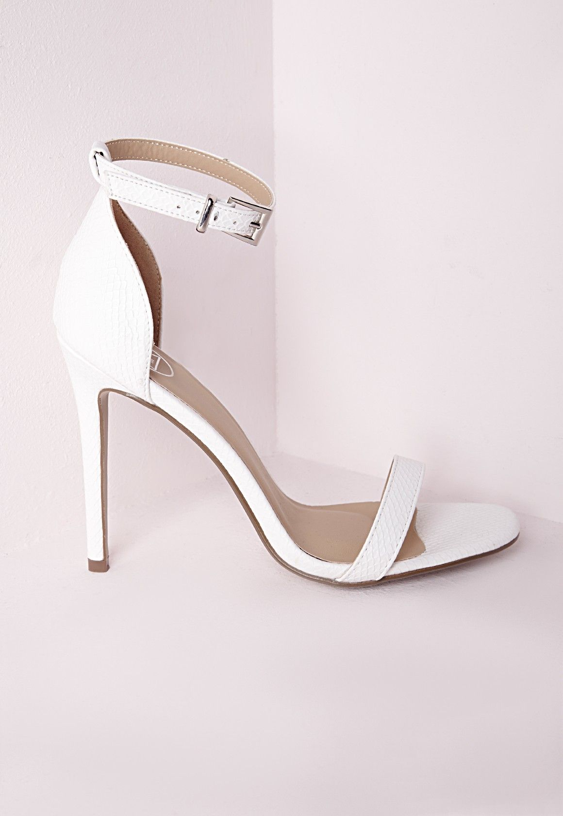 5982599e30 Barely There Strappy Heeled Sandals White Croc - Shoes - High Heels -  Missguided