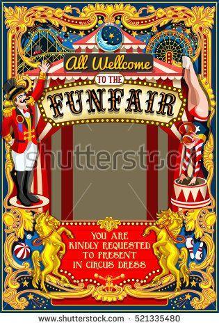 Circus juggler show Retro Template Cartoon Poster Invite Kids game